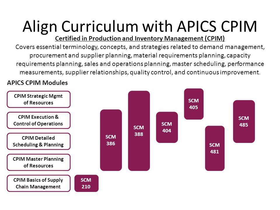 Align Curriculum with APICS CPIM