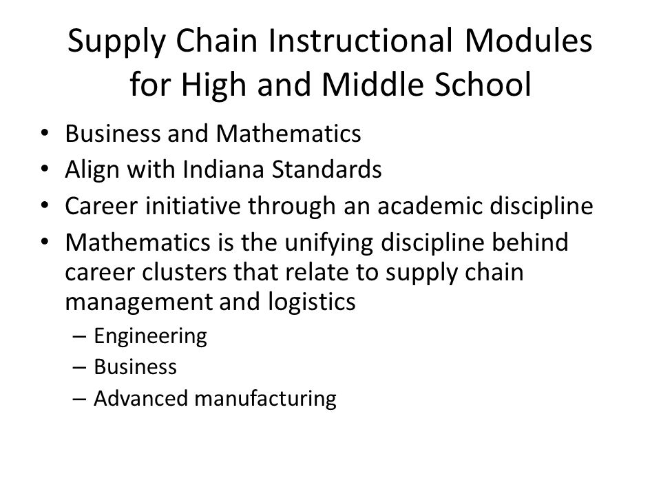 Supply Chain Instructional Modules for High and Middle School