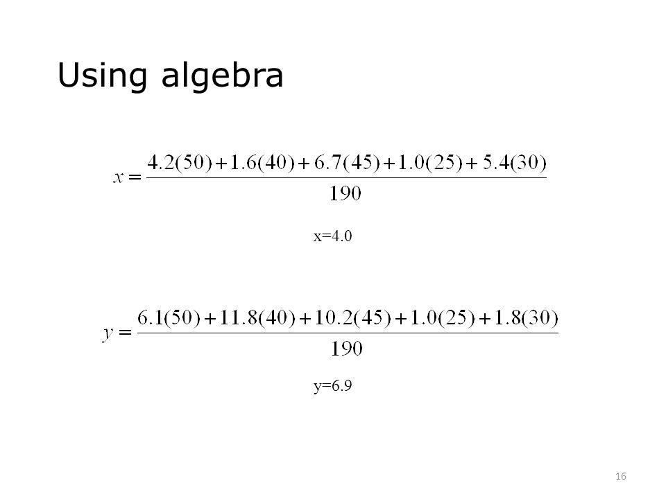 Using algebra x=4.0 y=6.9