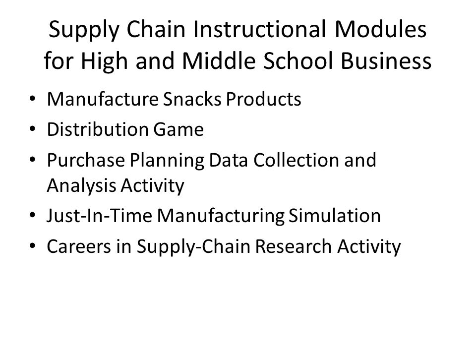 Supply Chain Instructional Modules for High and Middle School Business