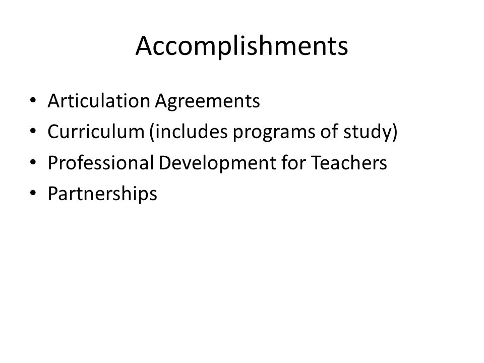 Accomplishments Articulation Agreements