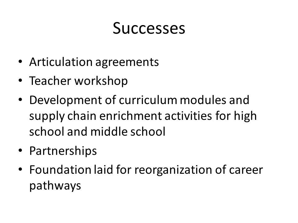 Successes Articulation agreements Teacher workshop