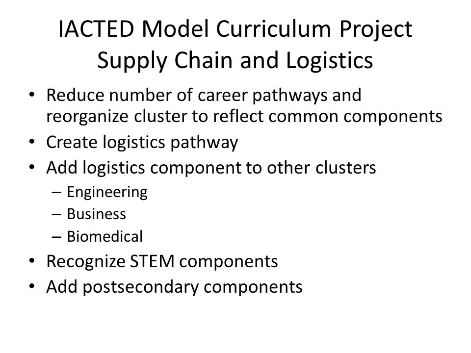 IACTED Model Curriculum Project Supply Chain and Logistics