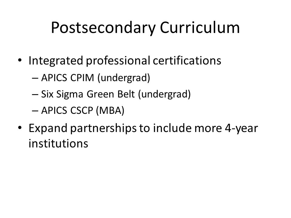 Postsecondary Curriculum