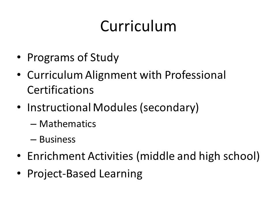 Curriculum Programs of Study