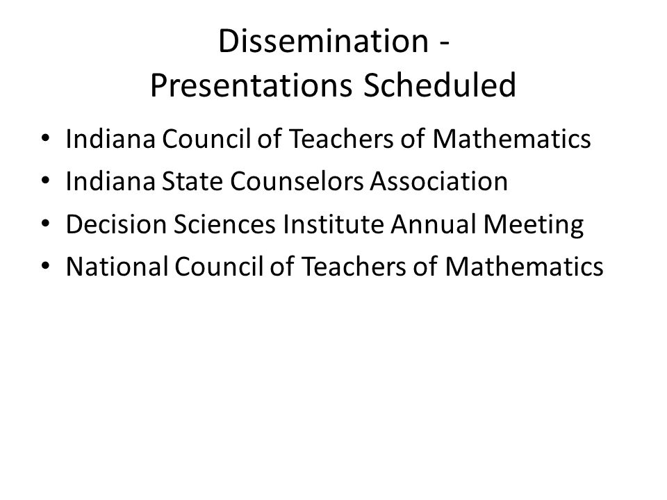 Dissemination - Presentations Scheduled