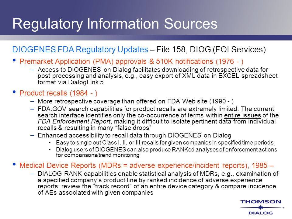 Regulatory Information Sources