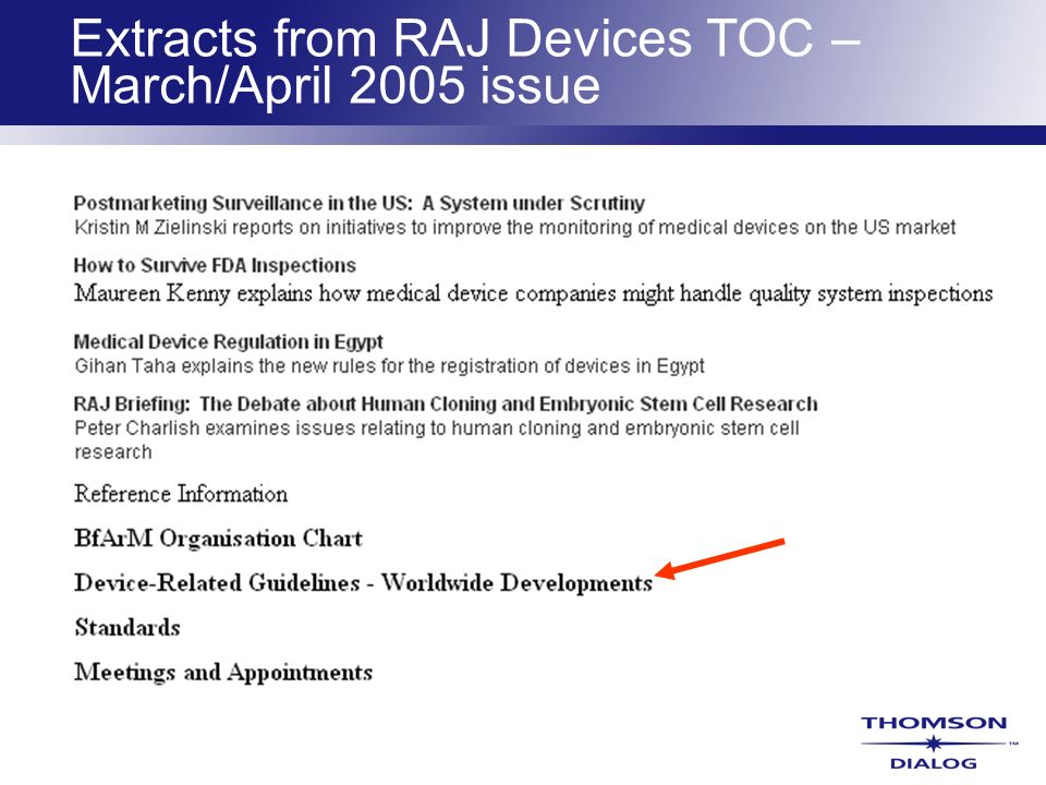 Extracts from RAJ Devices TOC – March/April 2005 issue