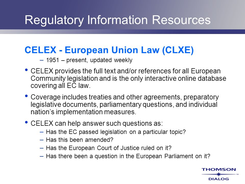 Regulatory Information Resources