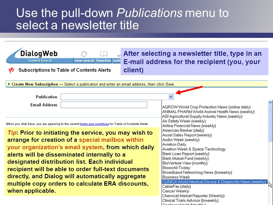 Use the pull-down Publications menu to select a newsletter title