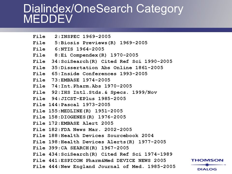 Dialindex/OneSearch Category MEDDEV