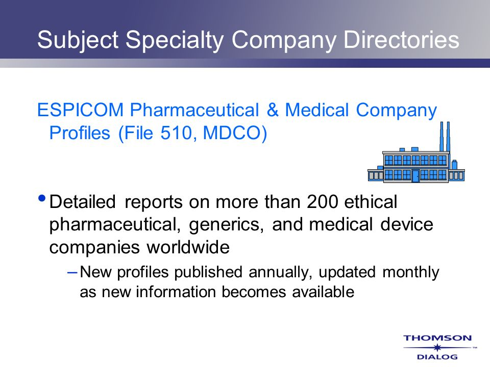 Subject Specialty Company Directories