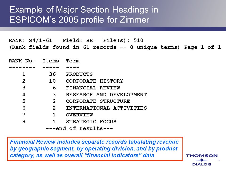 Example of Major Section Headings in ESPICOM's 2005 profile for Zimmer