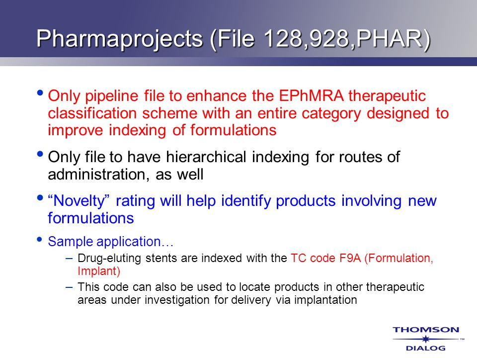 Pharmaprojects (File 128,928,PHAR)