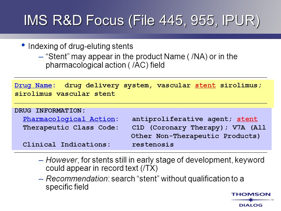 IMS R&D Focus (File 445, 955, IPUR)