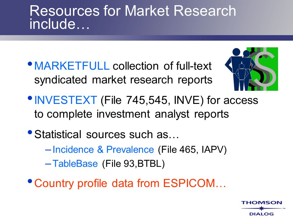 Resources for Market Research include…