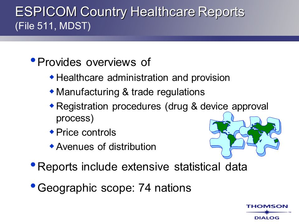 ESPICOM Country Healthcare Reports (File 511, MDST)