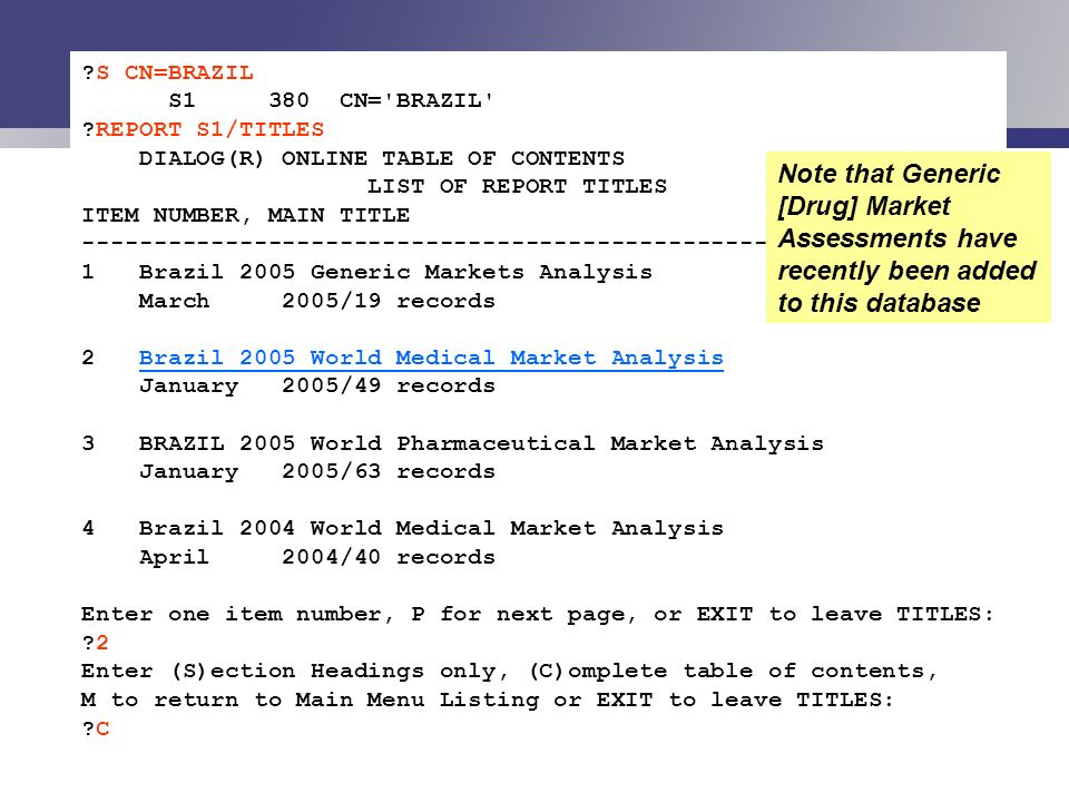 S CN=BRAZIL S1 380 CN= BRAZIL REPORT S1/TITLES. DIALOG(R) ONLINE TABLE OF CONTENTS. LIST OF REPORT TITLES.