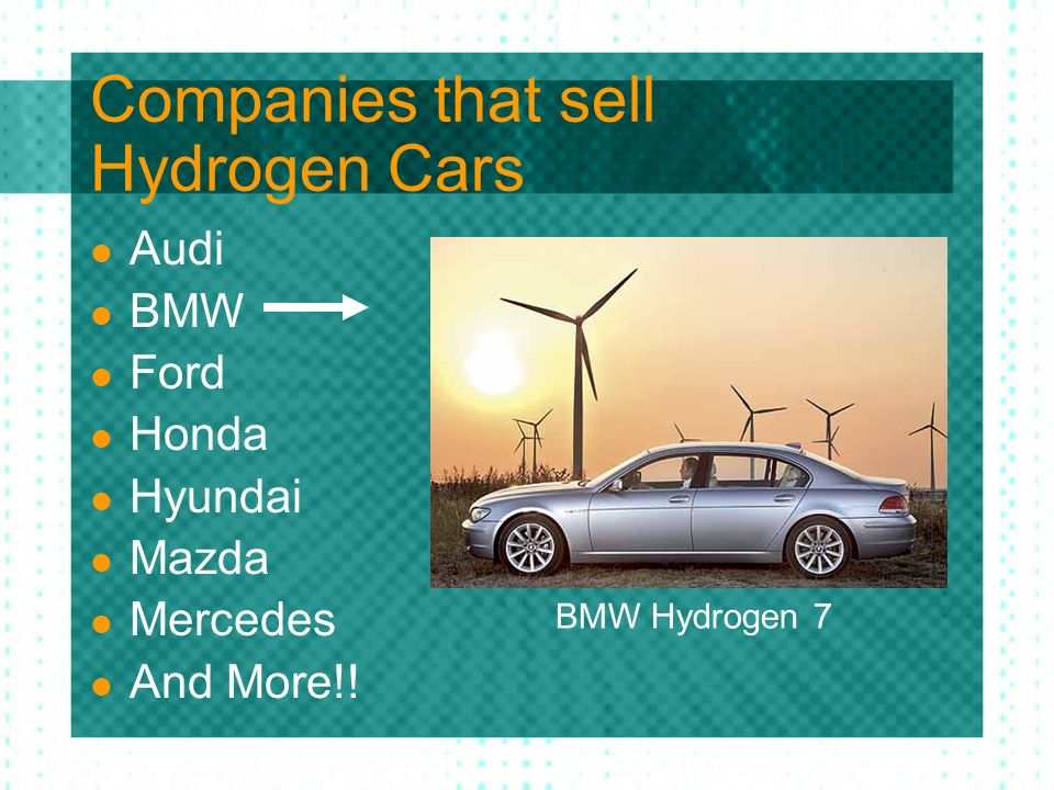 Companies that sell Hydrogen Cars