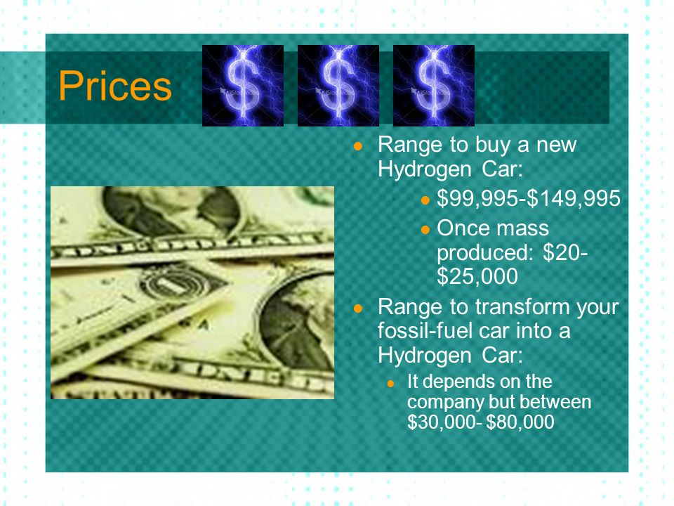 Prices Range to buy a new Hydrogen Car: $99,995-$149,995