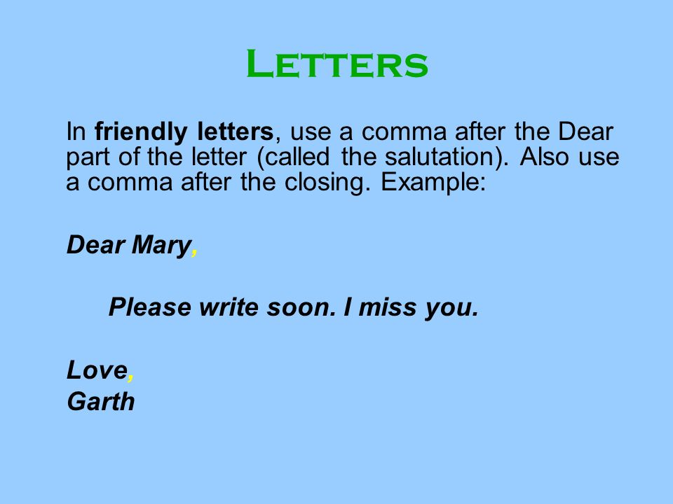 Comma After Love In A Letter