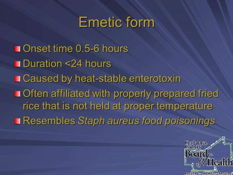 Emetic form Onset time hours Duration <24 hours