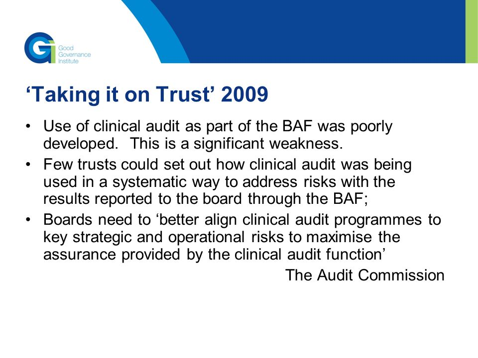 analysis of the use of clinical audits in healthcare From chan's experience conducting thousands of healthcare audits,  chan healthcare auditors have access to clinical,  chan healthcare will work with a.