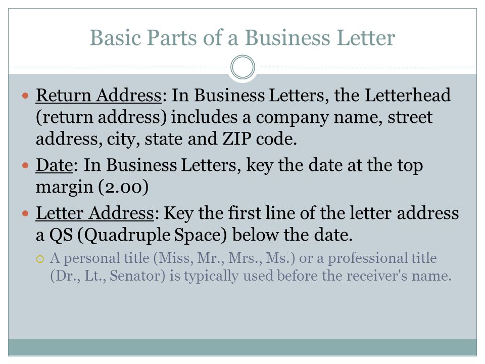 Business Letters Business Technology I