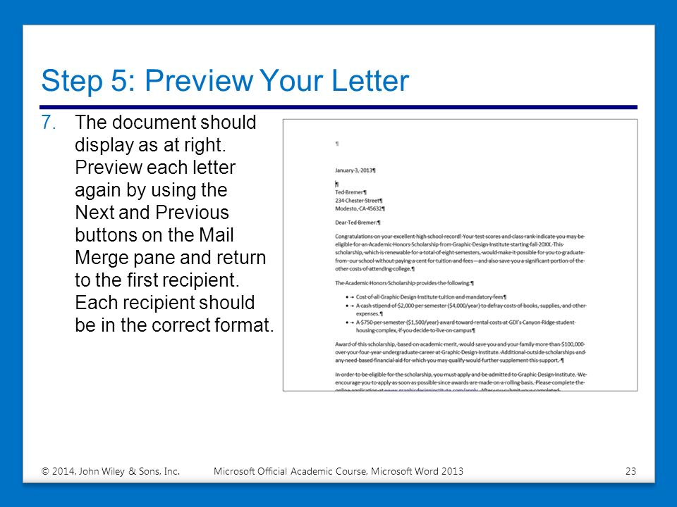 Performing mail merges ppt download step 5 preview your letter stopboris Choice Image