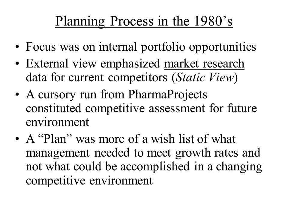Planning Process in the 1980's