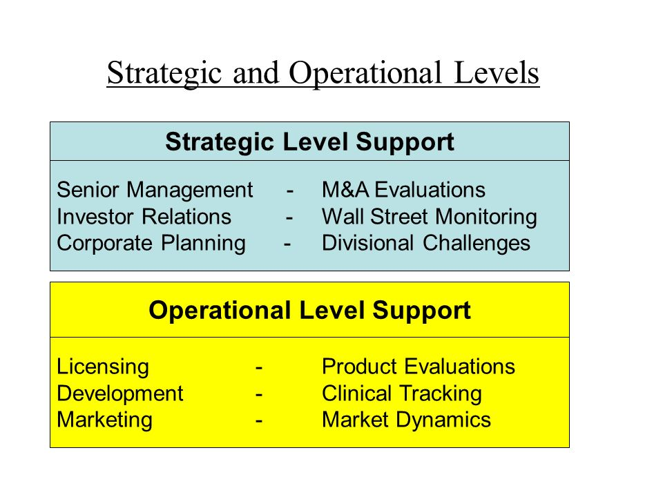Strategic and Operational Levels