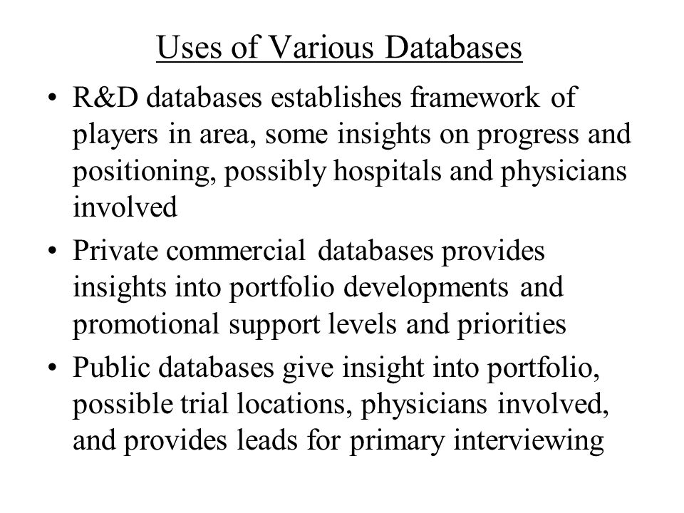 Uses of Various Databases