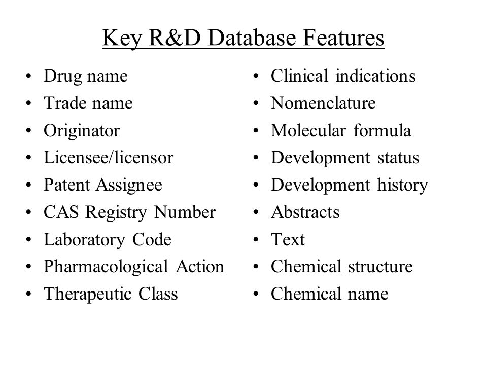Key R&D Database Features