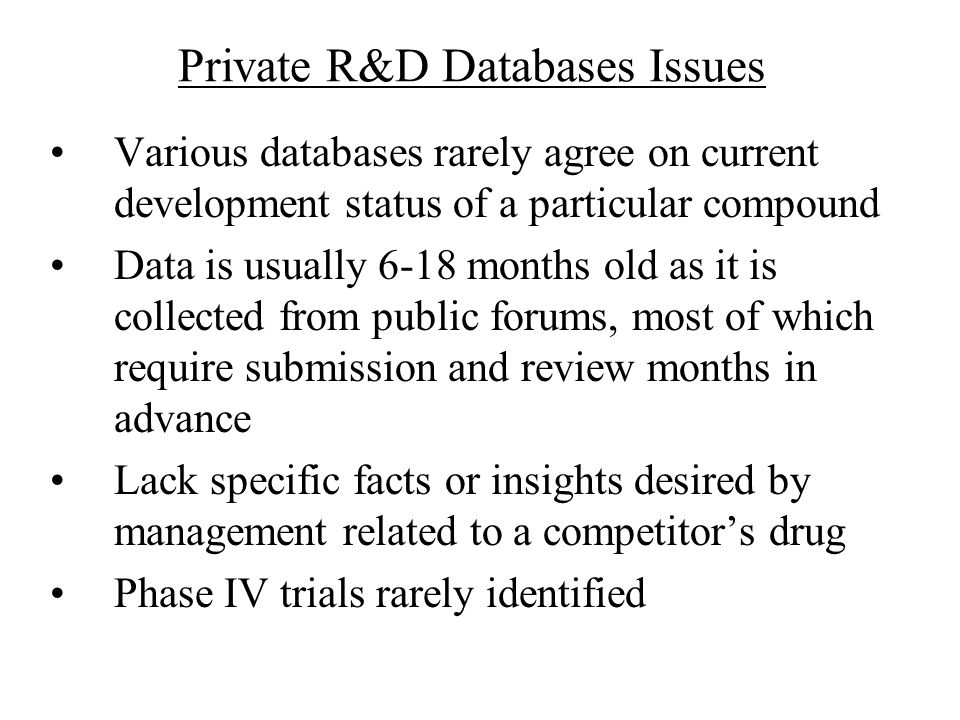 Private R&D Databases Issues