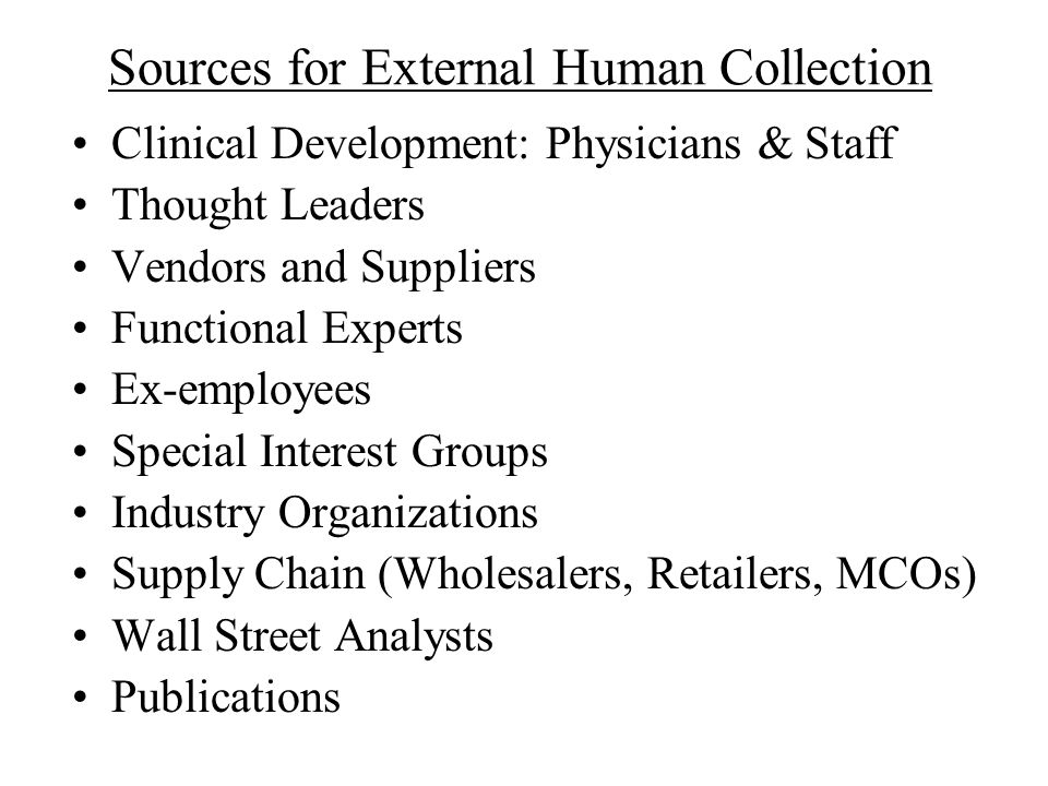 Sources for External Human Collection