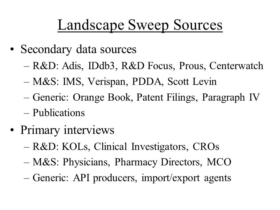 Landscape Sweep Sources