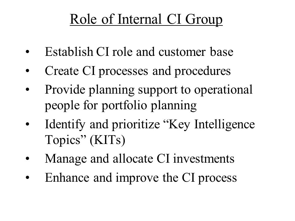 Role of Internal CI Group
