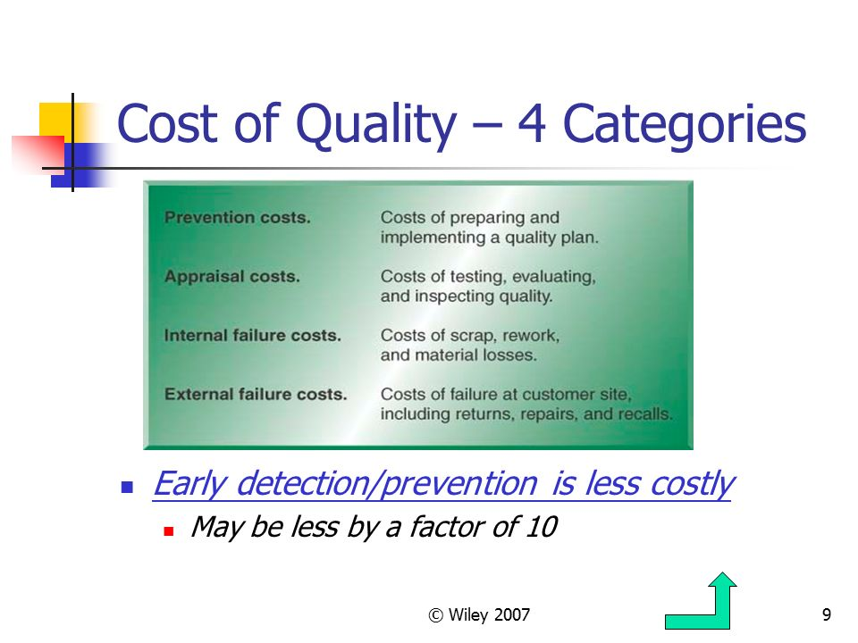 costs of quality major categories Answer: d) external failure costs explanation: from the four major categories of quality costs, external failure costs is the category that is hard to quantify it is because other three categories are the internal quality cost to the company that can be measured or quantified properly.