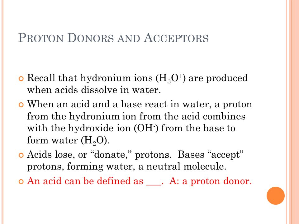 Proton Donors and Acceptors