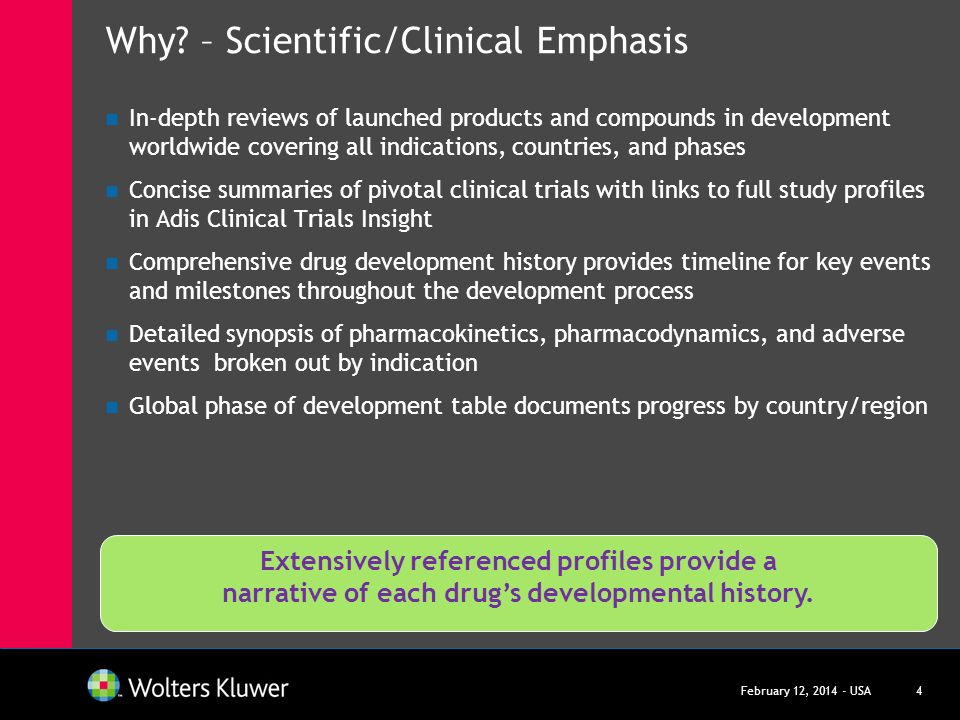 Why – Scientific/Clinical Emphasis