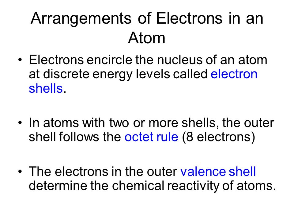 Arrangements of Electrons in an Atom