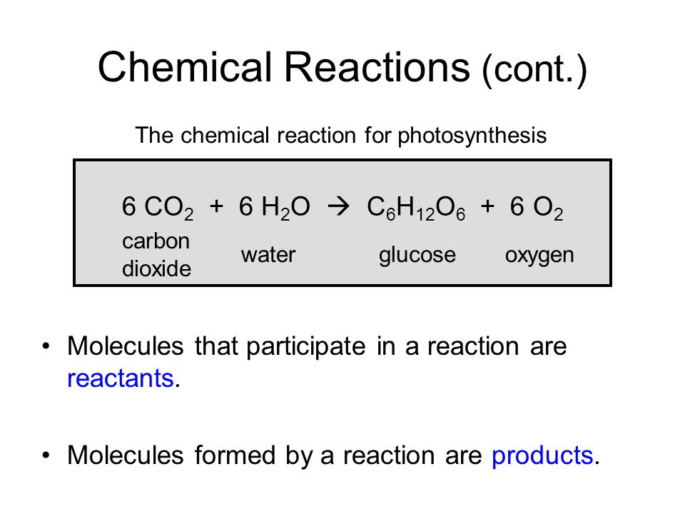 Chemical Reactions (cont.)
