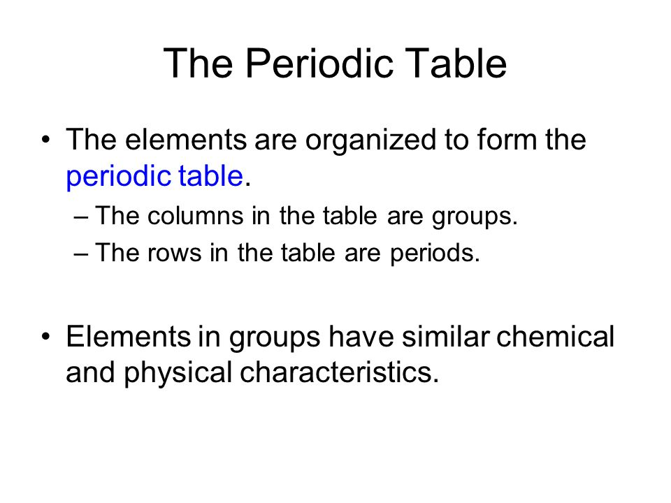 The Periodic Table The elements are organized to form the periodic table. The columns in the table are groups.