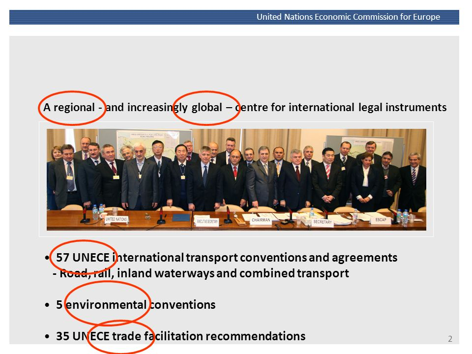 57 UNECE international transport conventions and agreements