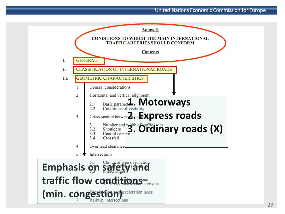 Emphasis on safety and traffic flow conditions (min. congestion)