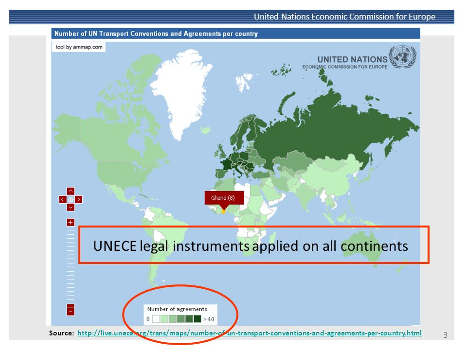 UNECE legal instruments applied on all continents