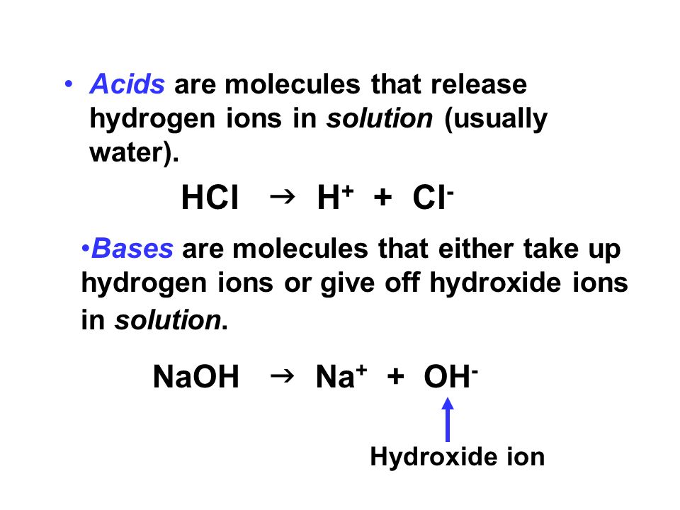 Acids are molecules that release hydrogen ions in solution (usually water).