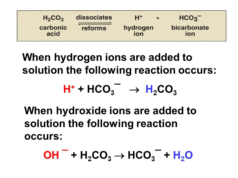 When hydrogen ions are added to solution the following reaction occurs: