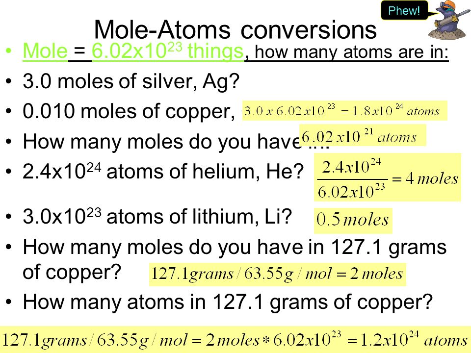 mole to relationship between copper and silver