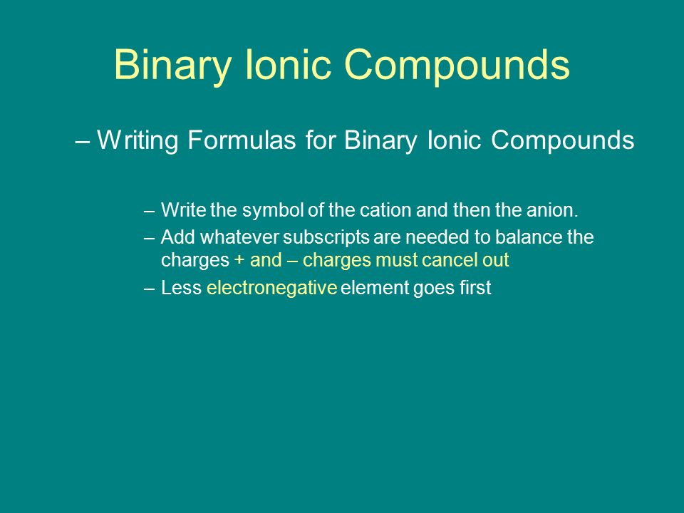 how to write formulas for binary ionic compounds